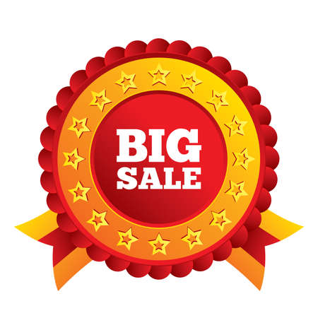 Big sale sign icon. Special offer symbol. Red award label with stars and ribbons. Vector Vector