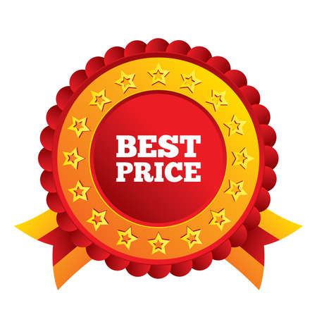 best price: Best price sign icon. Special offer symbol. Red award label with stars and ribbons. Vector