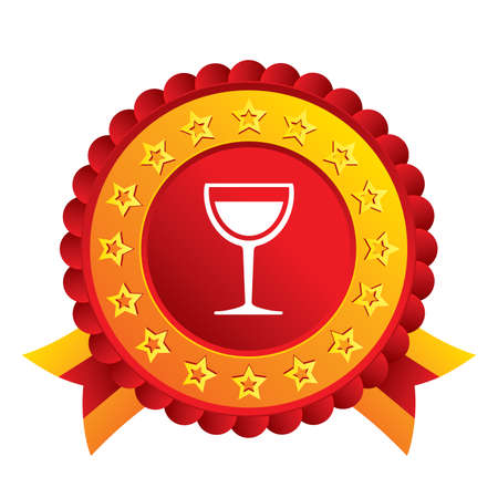 Wine glass sign icon. Alcohol drink symbol. Red award label with stars and ribbons. Vector