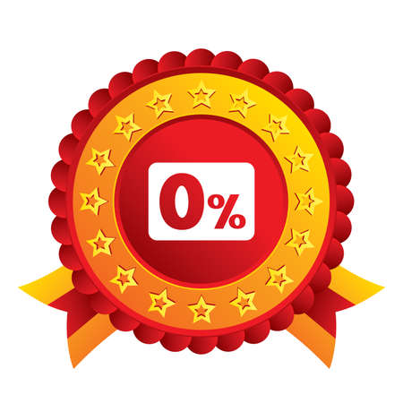 Zero percent sign icon. Zero credit symbol. Best offer. Red award label with stars and ribbons. Vector Vector