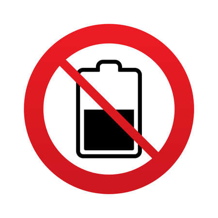 no gradient: No Battery half level sign icon. Low electricity symbol. Red prohibition sign. Stop symbol. Vector Illustration