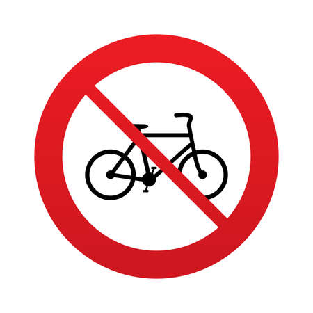 No Bicycle sign icon. Eco delivery. Family vehicle symbol. Red prohibition sign. Stop symbol. Vector
