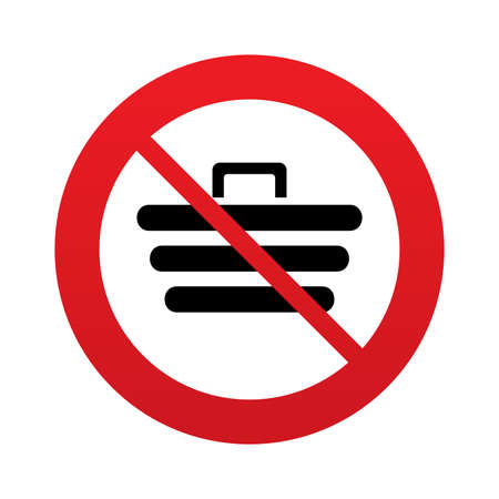 No Shopping Cart sign icon. Online buying button. Red prohibition sign. Stop symbol. Vector Vector