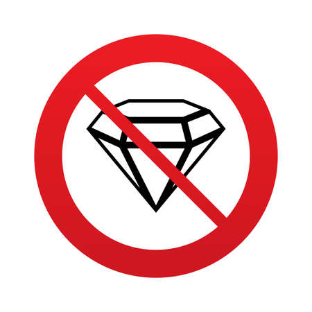 no gradient: No Diamond sign icon. Jewelry symbol. Gem stone. Red prohibition sign. Stop symbol. Vector