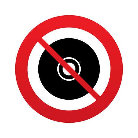 No CD or DVD sign icon. Compact disc symbol. Red prohibition sign. Stop symbol. Vector