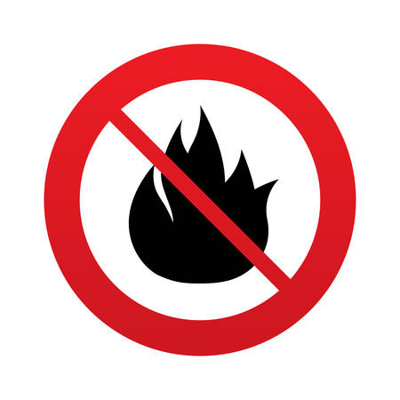 fire escape: No Fire flame sign icon. Fire symbol. Stop fire. Escape from fire. Red prohibition sign. Stop symbol. Vector