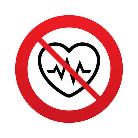 No Heartbeat sign icon. Cardiogram symbol. Red prohibition sign. Stop symbol. Vector Vector