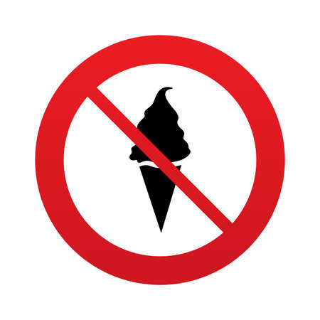 no gradient: No Ice Cream in waffle cone sign icon. Sweet symbol. Red prohibition sign. Stop symbol. Vector