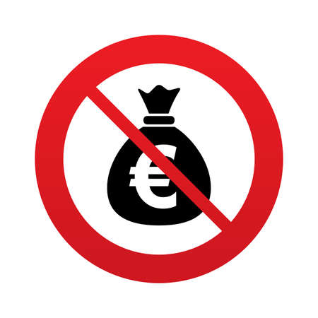 eur: No Money bag sign icon. Euro EUR currency symbol. Red prohibition sign. Stop symbol. Vector