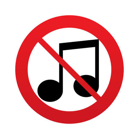 No Music note sign icon. Musical symbol. Red prohibition sign. Stop symbol. Vector Vector