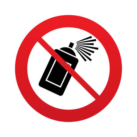 spray paint can: No Graffiti spray can sign icon. Aerosol paint symbol. Red prohibition sign. Stop symbol. Vector