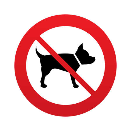 No Dog sign icon. Pets symbol. Red prohibition sign. Stop symbol. Vector Vector