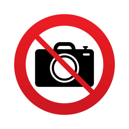 No Photo camera sign icon. Digital photo camera symbol. Red prohibition sign. Stop symbol. Vector Vector