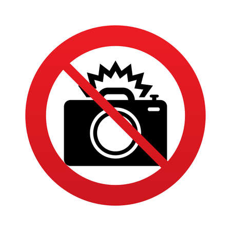 No Photo camera sign icon. Photo flash symbol. Red prohibition sign. Stop symbol. Vector Vector