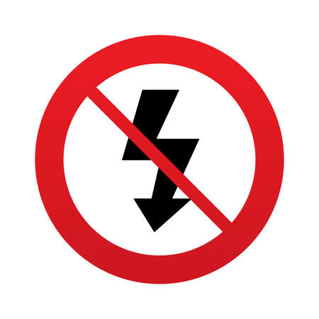 Photo flash sign icon. Lightning symbol. Red prohibition sign. Stop symbol. Vector Vector