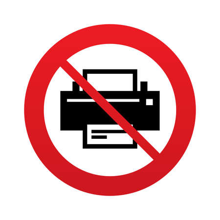 No Print sign icon. Printing symbol. Print button. Red prohibition sign. Stop symbol. Vector Vector