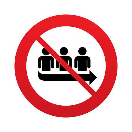 Geen wachtrij teken pictogram. Lange beurt symbool. Rood verbodsbord. Stop symbool. Vector