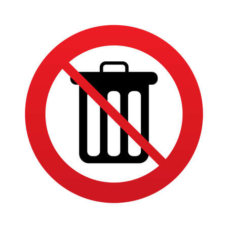 utilization: Don`t throw trash. Recycle bin sign icon. Bin symbol. Red prohibition sign. Stop symbol. Vector Illustration