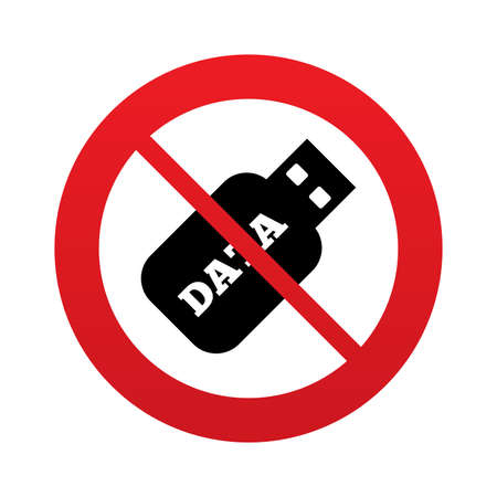 no gradient: No Usb Stick sign icon. Do not use Usb flash drive button. Red prohibition sign. Stop symbol. Vector Illustration