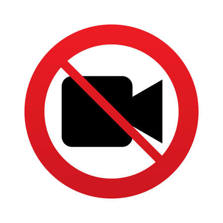 Don`t shoot video. Video camera sign icon. Red prohibition sign. Stop symbol. Vector Vector