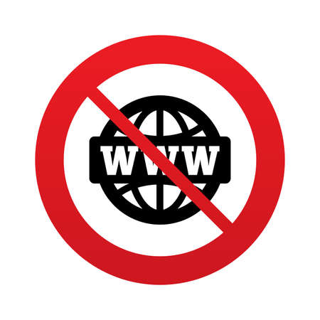 www at sign: No WWW sign icon. Do not use internet. World wide web symbol. Globe. Red prohibition sign. Stop symbol. Vector