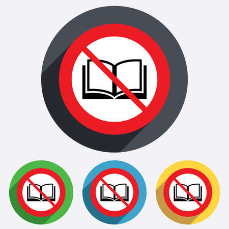 not open: Book not allowed sign icon. Open book symbol. Red circle prohibition sign. Stop flat symbol. Vector Illustration