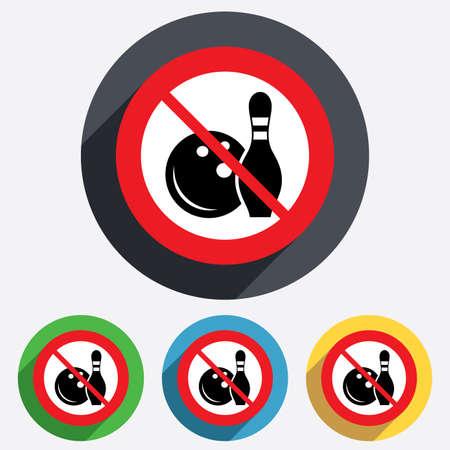 kegelen: Bowling spel teken icoon. Speel niet. Bal met pin kegel symbool. Rode cirkel verbodsbord. Stop plat symbool. Vector Stock Illustratie