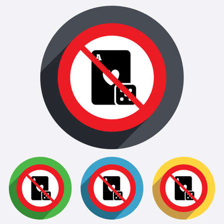 card stop: No Casino sign icon. Playing card with dice symbol. Red circle prohibition sign. Stop flat symbol. Vector