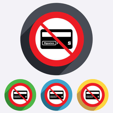 card stop: Not allowed Credit card sign icon. Debit card symbol. Virtual money. Red circle prohibition sign. Stop flat symbol. Vector