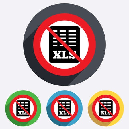 xls: Excel file document icon. Not allowed Download xls button. XLS file symbol. Red circle prohibition sign. Stop flat symbol. Vector Illustration