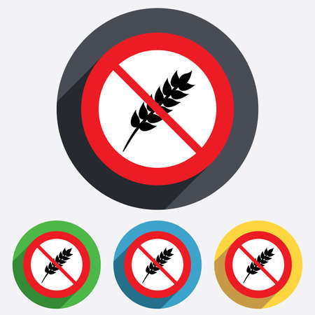 Gluten free sign icon. No gluten symbol. Red circle prohibition sign. Stop flat symbol. Vector Vector