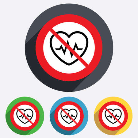 overwork: Not overwork. Heartbeat sign icon. Cardiogram symbol. Red circle prohibition sign. Stop flat symbol. Vector