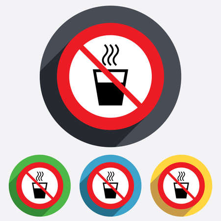 Hot water not allowed sign icon. Do not use Hot drink glass symbol. Red circle prohibition sign. Stop flat symbol. Vector