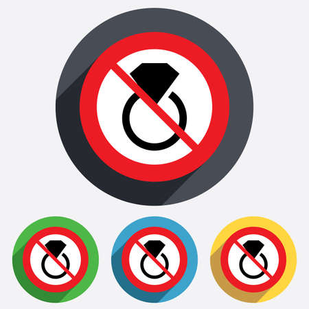 No Jewelry sign icon. Ring with diamond symbol. Red circle prohibition sign. Stop flat symbol. Vector Vector