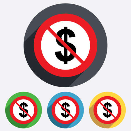 Not allowed Dollars sign icon. USD currency symbol. Money label. Red circle prohibition sign. Stop flat symbol. Vector