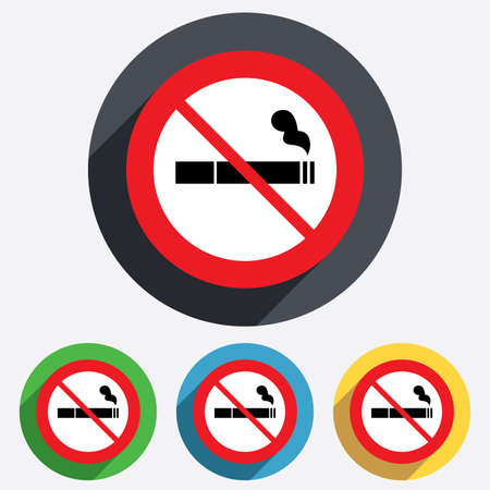 No Smoking sign icon. Cigarette symbol. Red circle prohibition sign. Stop flat symbol. Vector Vector