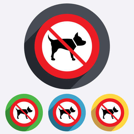 dog allowed: No Dog sign icon. Pets not allowed symbol. Red circle prohibition sign. Stop flat symbol. Vector