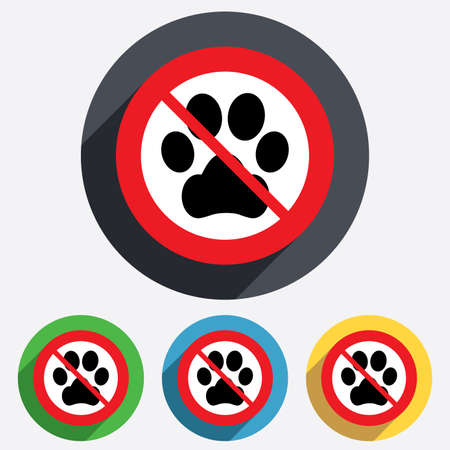 dog allowed: No Dog paw sign icon. Pets not allowed symbol. Red circle prohibition sign. Stop flat symbol. Vector