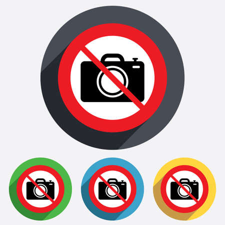 Do not Photo camera sign icon. Digital photo camera symbol. Red circle prohibition sign. Stop flat symbol. Vector Vector
