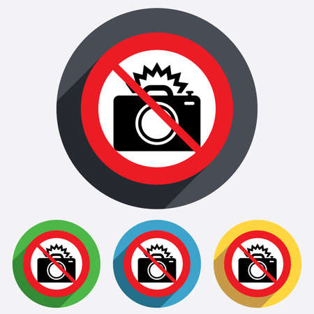 Photo camera sign icon. Do not use Photo flash symbol. Red circle prohibition sign. Stop flat symbol. Vector Vector