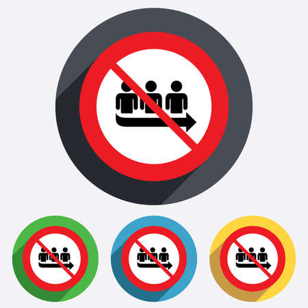 orderly: No Queue sign icon. Long turn symbol. Without waiting not allowed. Red circle prohibition sign. Stop flat symbol. Vector