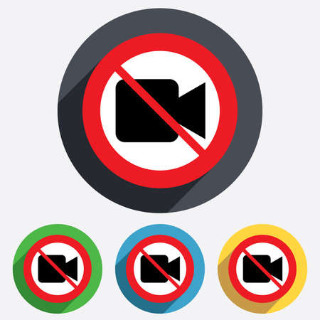 Do not record. Video camera sign icon. Video content button. Red circle prohibition sign. Stop flat symbol. Vector
