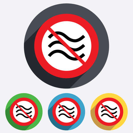 No Water waves sign icon. Do not wash. Swimming not allowed. Flood symbol. Red circle prohibition sign. Stop flat symbol. Vector Vector