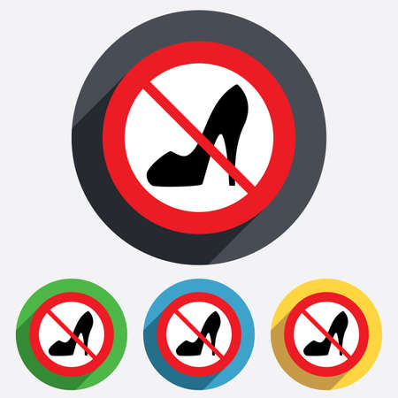 no heels: No Women sign. Womens shoe icon. Woman not allowed. High heels shoe symbol. Red circle prohibition sign. Stop flat symbol. Vector