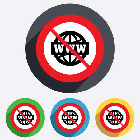 www at sign: No internet. WWW sign icon. World wide web symbol. Globe. Red circle prohibition sign. Stop flat symbol. Vector