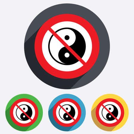 No Ying yang sign icon. Harmony and balance symbol. Red circle prohibition sign. Stop flat symbol. Vector Stock Vector - 25795522