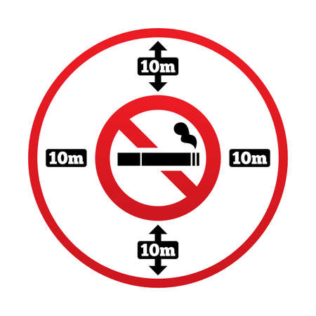 No smoking 10m distance sign. No smoking around public places symbol. 10 meters away from the building.  illustration. Stock Illustration - 25795530