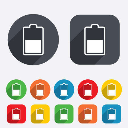 Battery half level sign icon. Low electricity symbol. Circles and rounded squares 12 buttons. Vector Stock Vector - 25795548