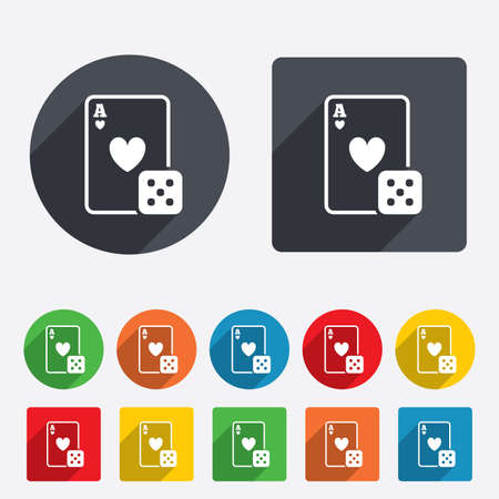 Casino sign icon. Playing card with dice symbol. Circles and rounded squares 12 buttons. Vector Vector