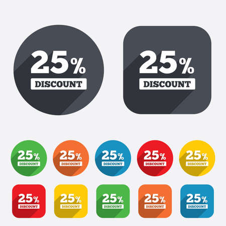 25 percent discount sign icon. Sale symbol. Special offer label. Circles and rounded squares 12 buttons. Vector Vector